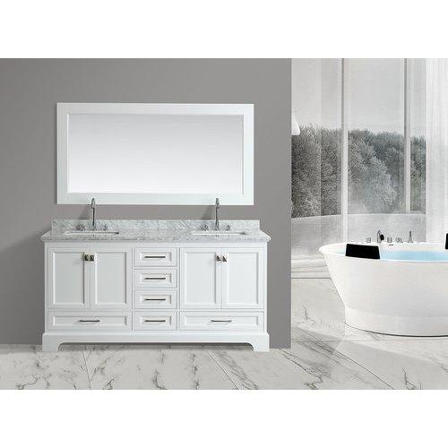 Design element 72 omega double sink bathroom vanity white dec068b w j keats for Omega bathroom vanity cabinet