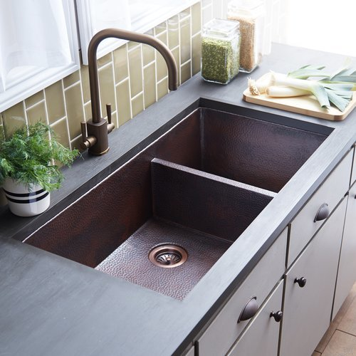 """Native Trails 40"""" x 22"""" Cocina Double Bowl Kitchen Sink - Antique Copper CPK277"""