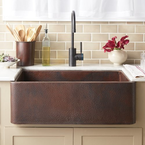 "30"" x 18"" Farmhouse Kitchen Sink - Antique Copper <small>(#CPK294)</small>"