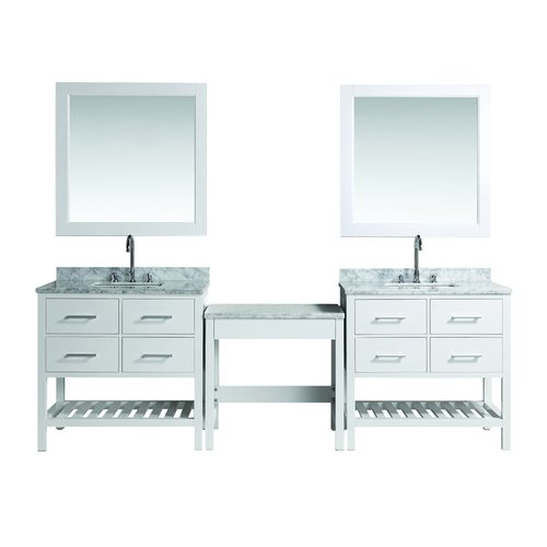 Design Element Two 30 London Single Sink Vanity W Make Up Table White Dec077a Wx2 Mut W J