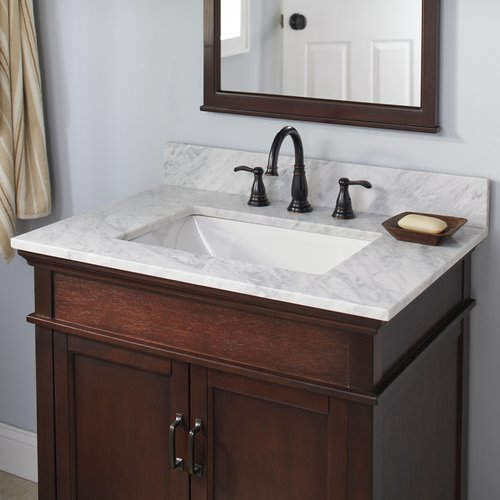 halstead 31 x 22 inch single bowl vanity top only with trough basin carrara white 26108 j keats. Black Bedroom Furniture Sets. Home Design Ideas