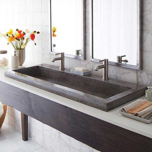 """48"""" x 19"""" Trough Drop-In Bathroom Sink - Ash <small>(#NSL4819-A)</small>"""