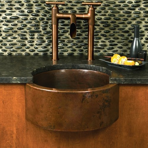 "19"" Round Fiesta Undermount Bar Sink - Antique Copper <small>(#CPS214)</small>"