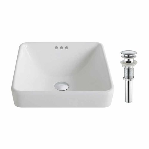 "16"" Elavo Square Drop-In Sink w/ Drain - White/Chrome <small>(#KCR-281-CH)</small>"