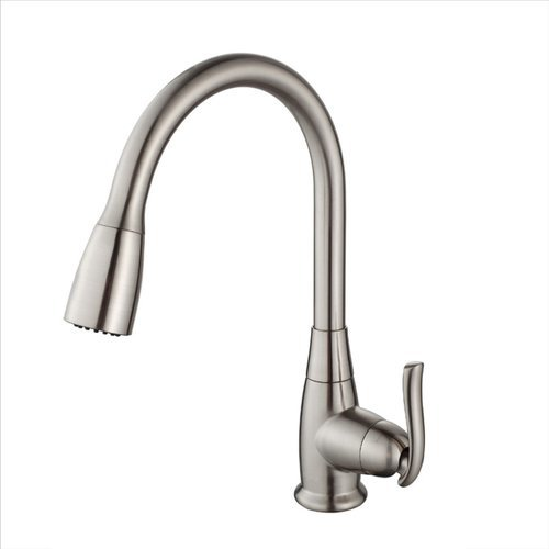 High Arch One Handle Pull-Out Kitchen Faucet Satin Nickel <small>(#KPF-2230SN)</small>
