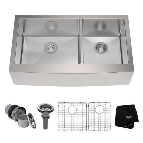 "36"" Farmhouse Double Bowl Kitchen Sink-Stainless Steel <small>(#KHF203-36)</small>"