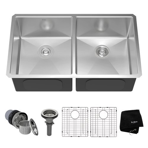 "33"" Undermount Double Bowl Kitchen Sink-Stainless Steel <small>(#KHU102-33)</small>"