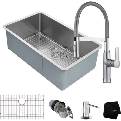 """32"""" Undermount Single Bowl Kitchen Sink Package Chrome <small>(#KHU100-32-1640-42CH)</small>"""