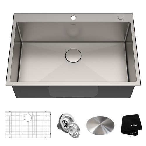 Standart PRO 33 Inch Length 22 Inch Width Rectangular Kitchen Sink - Satin <small>(#KHT300-33)</small>