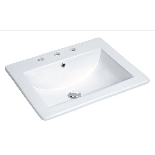 """18"""" Drop In Bathroom Sink with 3 Holes Drilled and Overflow - White <small>(#MMLD21183W)</small>"""
