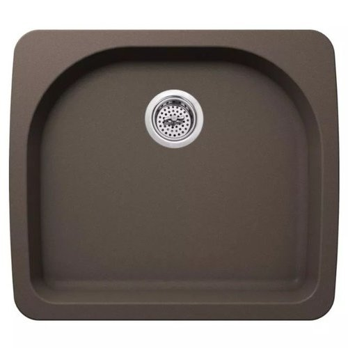 "Carolina 25"" Single Basin Drop In or Undermount Granite Composite Kitchen Sink - Basket Strainer Included - Brown <small>(#MMGR2522BR)</small>"