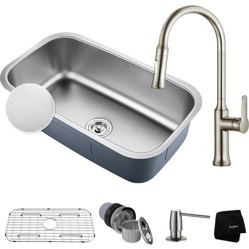 Kraus 31 1 2 Quot Undermount Single Bowl Kitchen Sink Package