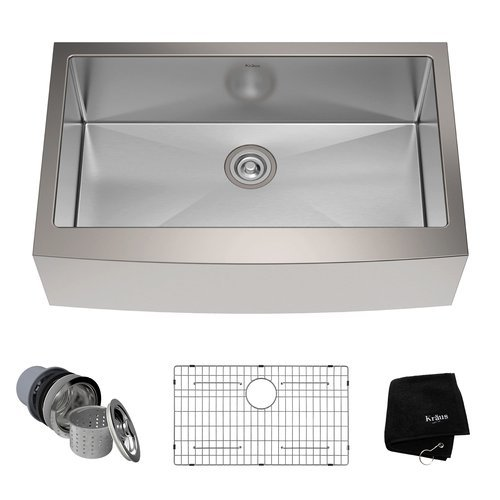 """33"""" Farmhouse Single Bowl Kitchen Sink-Stainless Steel <small>(#KHF200-33)</small>"""