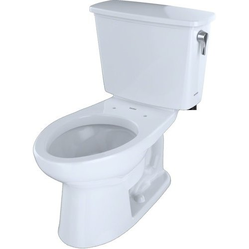 Eco Drake Transitional Two-Piece Elongated 1.28 GPF Universal Height Toilet for 10 Inch Rough-In with Right Lever, Cotton White <small>(#CST744EFRN.10#01)</small>
