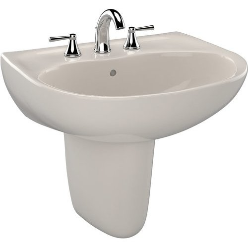 Supreme Oval Wall-Mount Bathroom Sink with CeFiONtect and Shroud for 4 Inch Center Faucets, Sedona Beige <small>(#LHT241.4G#12)</small>