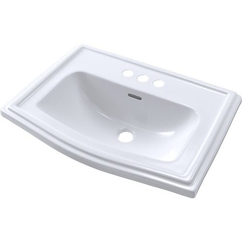 Clayton Rectangular Self-Rimming Drop-In Bathroom Sink for 4 Inch Center Faucets, Cotton White <small>(#LT781.4#01)</small>