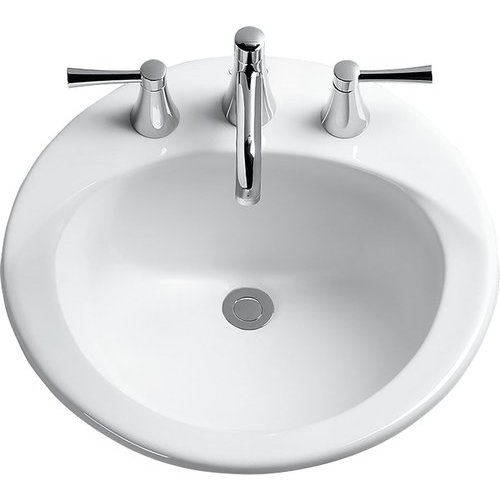 Ultimate Round Self-Rimming Drop-In Bathroom Sink with CeFiONtect for 4 Inch Center Faucets, Cotton White <small>(#LT512.4G#01)</small>